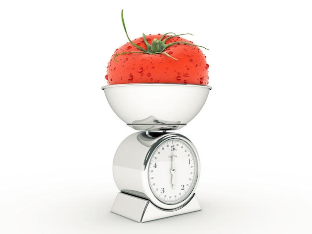 Balança de cozinha com tomate gigante