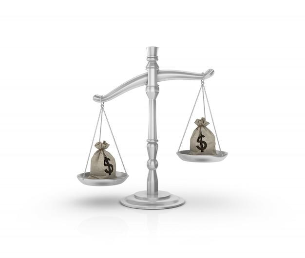 Balança de peso legal com saco de dólares em dinheiro