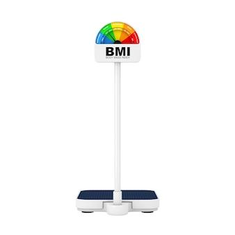 Balança médica de controle de peso com imc ou escala de índice de massa corporal, medidor e mostrador em um fundo branco. renderização 3d
