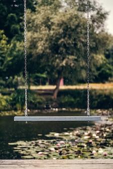 Balanço com um lago cheio de flores alvas no fundo