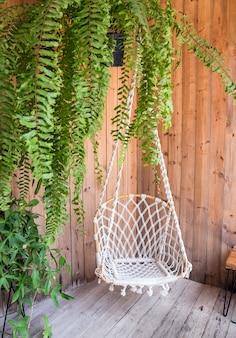 Balanço de canto e planta decoram o interior