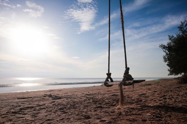 Balanço de madeira pendurado na praia.