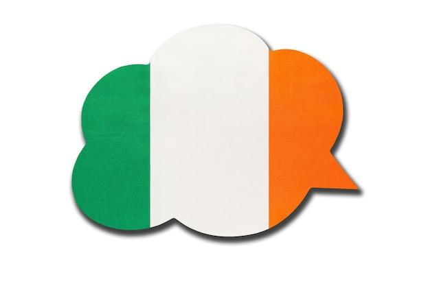 Balão 3d com a bandeira nacional da irlanda. fale e aprenda a língua irlandesa. símbolo do país.