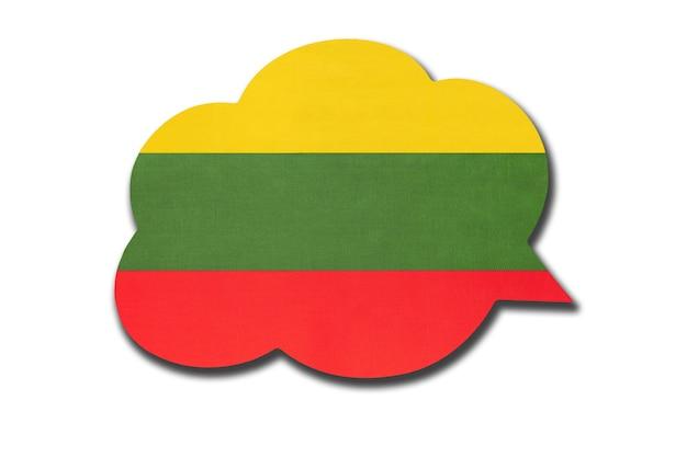 Balão 3d com a bandeira nacional da lituânia, isolada no fundo branco. fale e aprenda a língua lituana. símbolo do país. sinal de comunicação mundial.