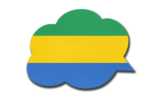 Balão 3d com a bandeira nacional da república gabonesa isolada no fundo branco. fale e aprenda uma língua. símbolo do país gabão. sinal de comunicação mundial.