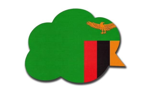 Balão 3d com a bandeira nacional da zâmbia, isolada no fundo branco. fale e aprenda uma língua. símbolo do país zâmbia. sinal de comunicação mundial.