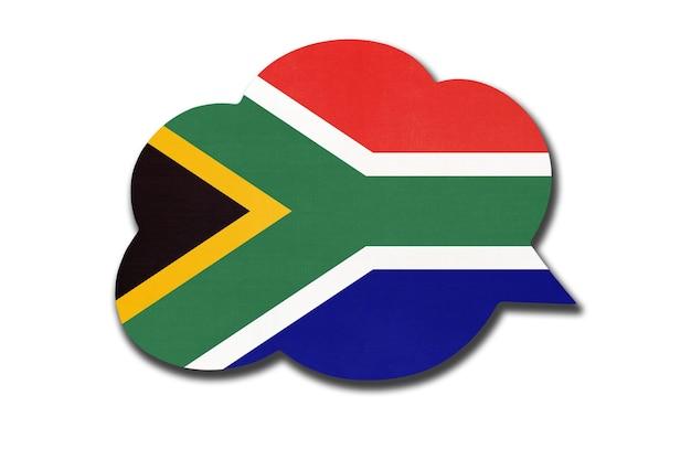 Balão 3d com bandeira nacional rsa isolada no fundo branco. fale e aprenda uma língua. símbolo do país da áfrica do sul. sinal de comunicação mundial.
