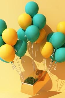 Balão amarelo amarrado com uma barra de ouro e está puxando para cima