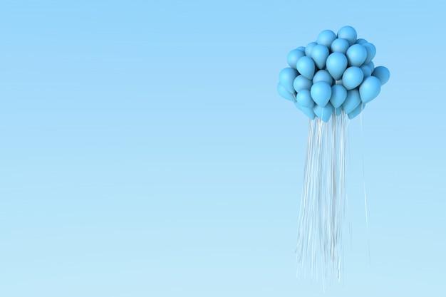 Balão azul no céu.