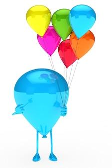 Balão azul que mantem balões coloridos