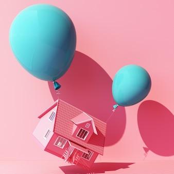 Balão azul turquesa amarrado com uma casa e puxando-a para cima em rosa