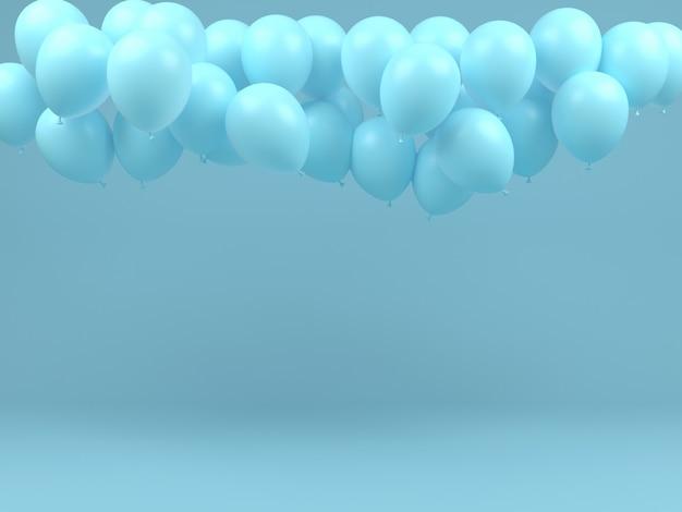 Balão azul voar no ar conceito pastel fundo mínimo