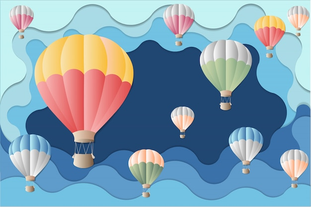 Balão colorido no fundo azul. ilustração para o festival de balão.