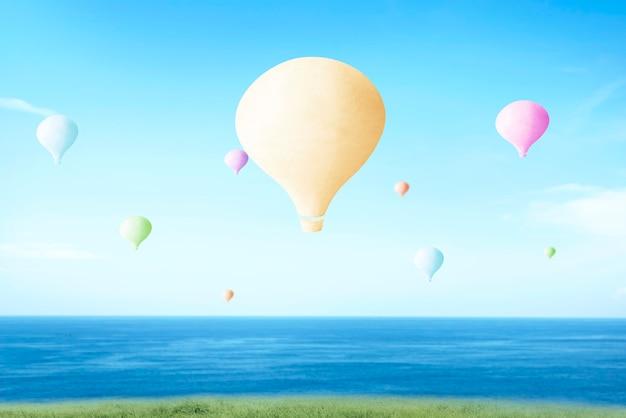Balão de ar colorido voando com fundo de céu azul