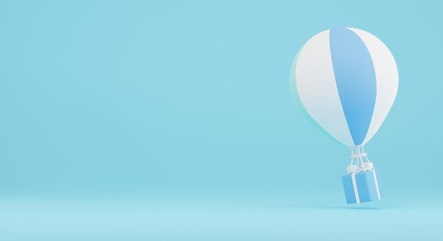 Balão de ar com caixa de presente em fundo azul. perfeito para banner de compras