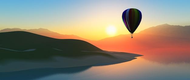 Balão de ar quente ao pôr do sol