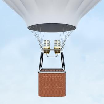Balão de ar quente branco com cesto