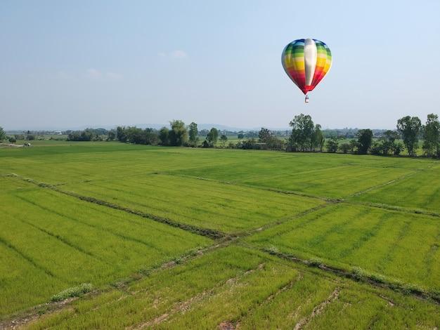 Balão de ar quente colorido no céu