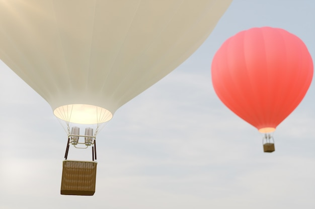 Balão de ar quente da ilustração 3d no céu. o ballon branco, vermelho, azul, verde e amarelo do ar voa no céu.
