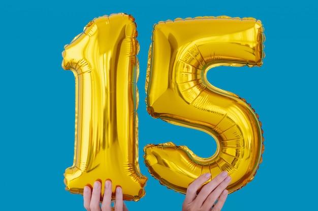 Balão de celebração de número 15 de folha de ouro