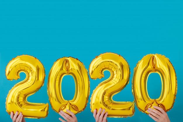 Balão de celebração de número de folha de ouro 2020