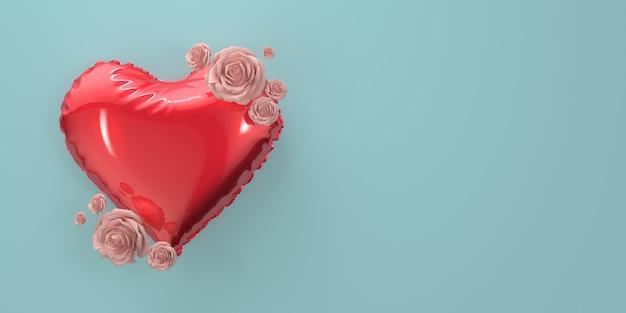 Balão de coração com rosas sobre fundo azul