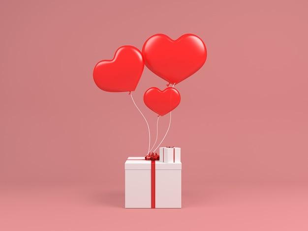 Balão de coração voar no ar branco caixa de gif conceito rosa pastel fundo mínimo