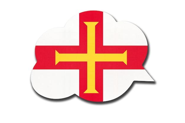 Balão de fala 3d com a bandeira nacional do bailiado de guernsey, isolada no fundo branco. símbolo do país. sinal de comunicação mundial.