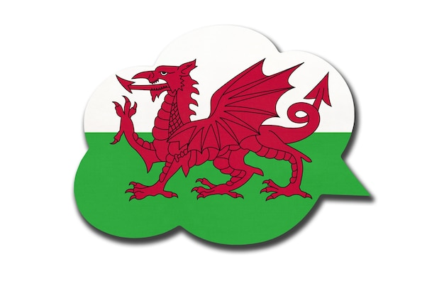 Balão de fala 3d com a bandeira nacional do país de gales, isolada no fundo branco. símbolo do país galês. sinal de comunicação mundial.