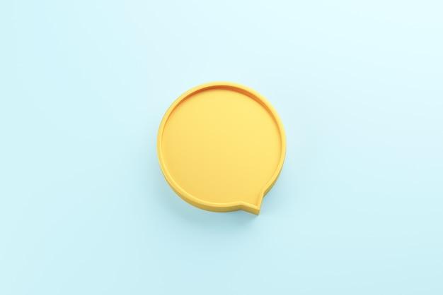 Balão de fala amarelo em branco na superfície azul
