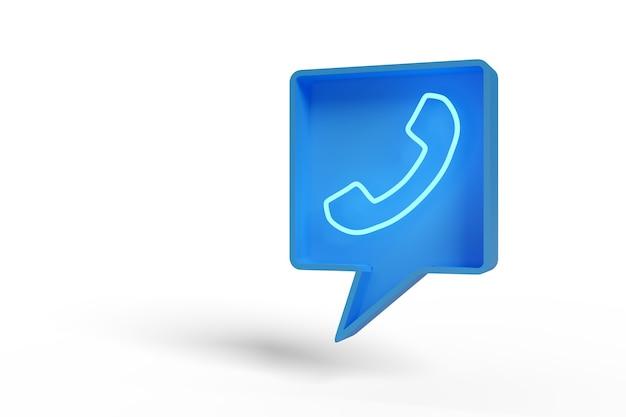 Balão de fala azul com ícone de telefone iluminado.