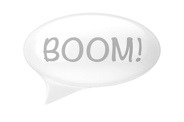 Balão de fala branco com sinal de crescimento em um fundo branco. renderização 3d