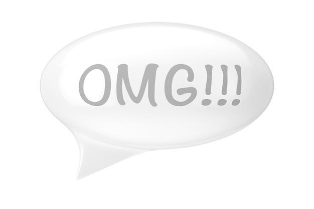 Balão de fala branco com sinal omg em um fundo branco. renderização 3d