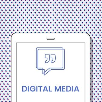 Balão de fala de mídia digital com aspas