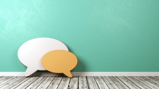 Balão de fala em formas contra a parede no chão de madeira contra a parede