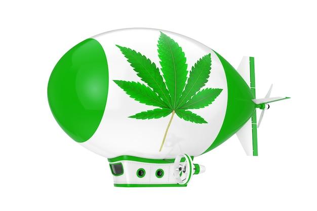 Balão dirigível de dirigível de desenhos animados com maconha medicinal ou sinal de folha de cânhamo de cannabis em um fundo branco. renderização 3d