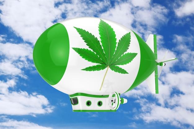 Balão dirigível de dirigível de desenhos animados com maconha medicinal ou sinal de folha de cânhamo de cannabis em um fundo de céu azul. renderização 3d