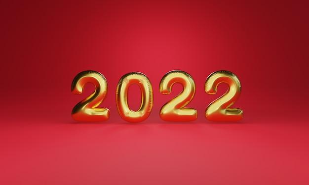Balão dourado de 2022 anos com luz brilhando sobre fundo vermelho para preparação de feliz natal e conceito de feliz ano novo pela técnica de renderização 3d.