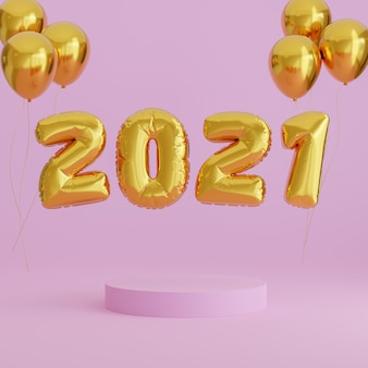Balão dourado de ano novo de 2021 em fundo rosa com pódio para foto do produto