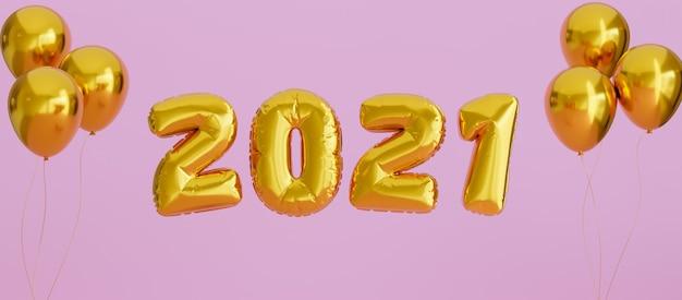 Balão dourado de ano novo de 2021 em fundo rosa para capa do facebook