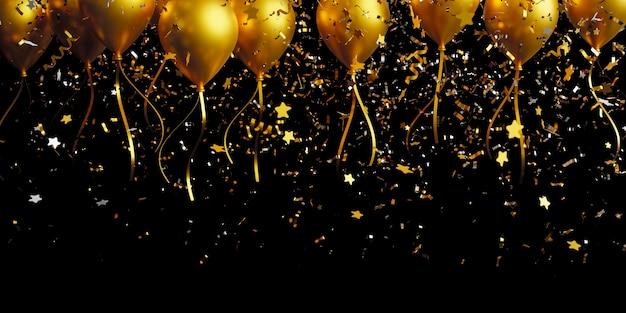 Balão dourado e confete de folha caindo sobre um fundo preto com espaço de cópia 3d render
