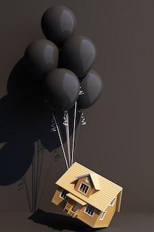 Balão preto amarrado a uma casa e está puxando-a para cima