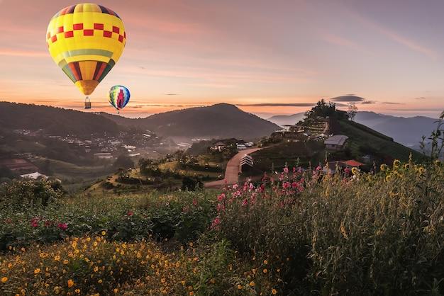 Balão sobre a vista para a montanha