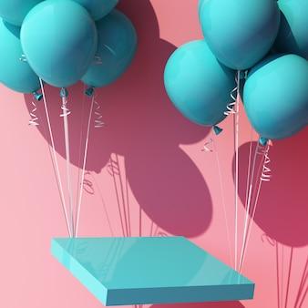 Balão turquesa azul amarrado a um pódio de estande de produtos e puxando-o para cima em rosa