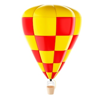 Balão vermelho e amarelo do ar quente de 3d.