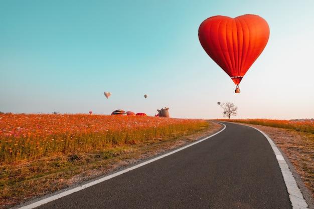Balão vermelho em forma de coração sobre campo e estrada de flores