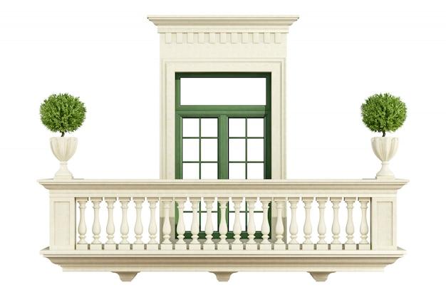 Balaustrada de varanda clássica com janela