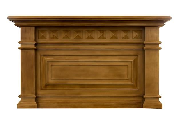 Balcão de bar de madeira isolado no fundo branco com traçado de recorte