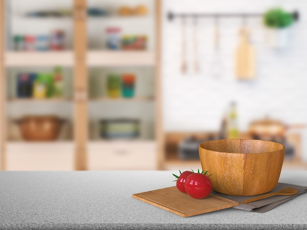 Balcão de granito com renderização 3d com tomate e tigela de madeira na cozinha