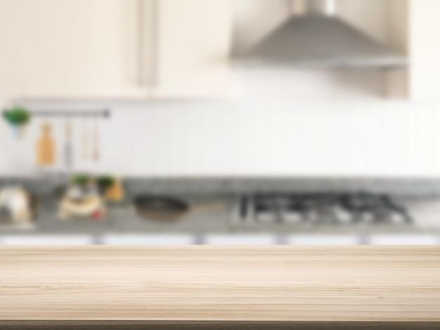 Balcão de madeira com fundo de armário de cozinha